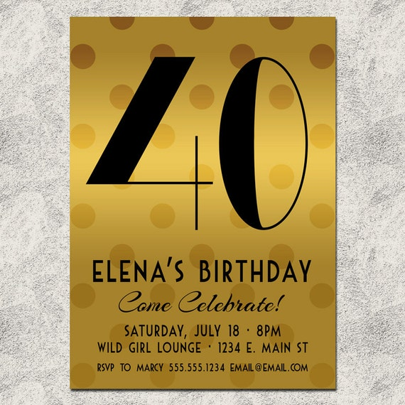 Gold Deco Adult Birthday Party Invitation - ANY AGE - MIlestone Birthday or Any Bday - Printable Digital Invite