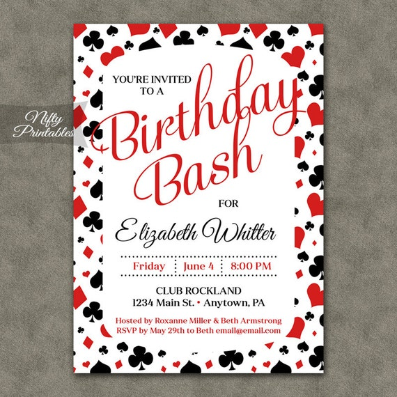 Casino Birthday Party Invitation - Playing Cards Casino Printable Adult Birthday Invites - Vegas Party & Casino Party Invitations