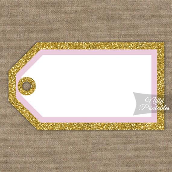 Printable Blank Favor Tags Pink & Gold Glitter DIY Blank