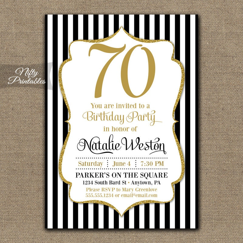 70th birthday invite | etsy, Birthday invitations