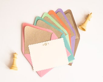 HH Signature Lovely / Personalized Stationery Set Gift for Her Lined Envelopes and Flat Scalloped Edge Cards with Gold Embossing
