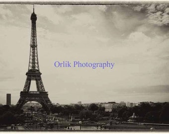 Eiffel Tower, old photo, vintage