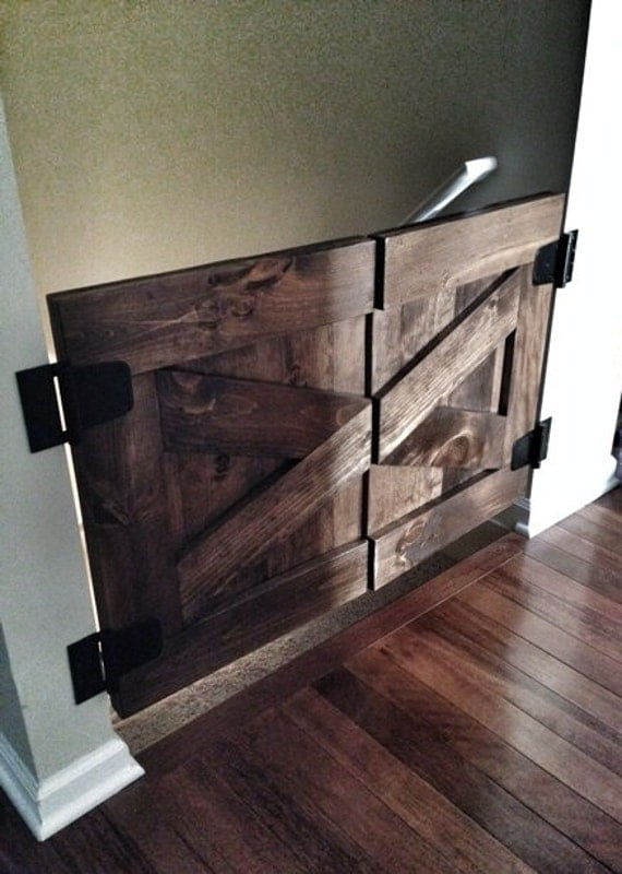 Custom Made Saloon Style Rustic Barn Door Baby Gate Walnut