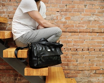The Kiefer: Reclaimed Bike Inner Tube Padded Laptop Briefcase