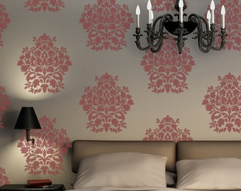 Large Wall Damask Stencil Denise, Allover Stencil for Easy DIY Wallpaper Decor