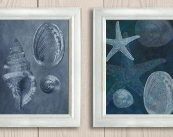 INSTANT DOWNLOAD Navy Blue Colorful Starfish Set of 2 Printable Bathroom Print Art Print Wall Decor Modern Ocean Nautical Beach