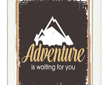 INSTANT DOWNLOAD Adventure Is Waiting For You Print Brown Beige Mountain Printable Home Decor Art Print Wall Decor