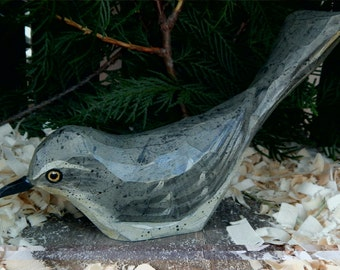 Hand Carved Windowsill Bird (Mocking Bird)