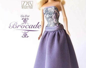 "Sewing pattern for 11 1/2"" doll (Barbie): Brocade Gown"