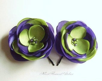 Purple Chartreuse Green Hair Flowers Purple Bride Bridesmaids Green Flower Girl Purple Green Wedding Accessories - Set of 2