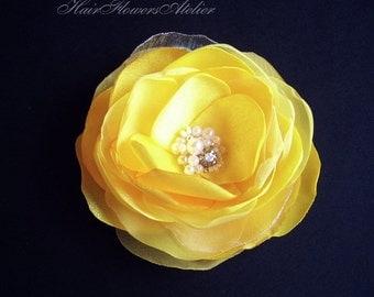 Yellow Hair Clip Yellow Hair Flower Yellow Bridal Hair Clip Rhinestones Pearls Yellow Head Piece Yellow Hair Piece