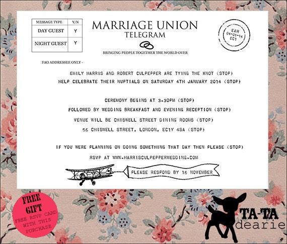 Vintage Style Telegram Wedding Invitation By TaTaDearie On