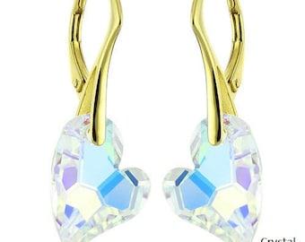 14k Gold Over 925 Sterling Silver Devoted Heart Swarovski Crystal Leverback Earrings