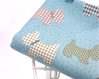Cotton Fabric Cute Terrier Mint Blue By The Yard
