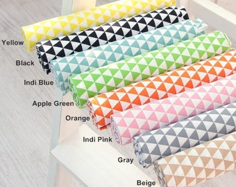 """Cotton Fabric 0.60"""" (1.7 cm) Mini Triangle in 8 Colors By The Yard"""