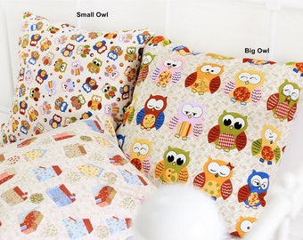 Cotton Fabric Cute Owl in 2 Patterns Beige By The Yard