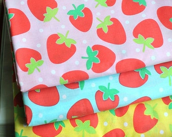 Cotton Blend Fabric Strawberry in 3 Colors By The Yard