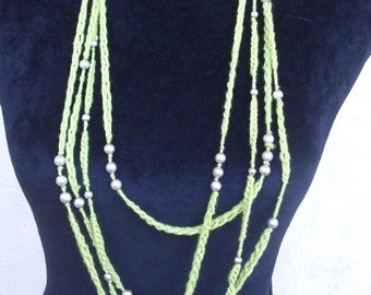 wire crochet necklace Pearl chains
