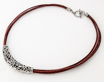 Natural Brown Leather Necklace,  Statement Necklace,Leather necklace,Silver Necklace,