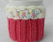 Handmade Knitted Cupcake Coffee Cozy