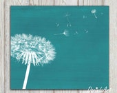 Dandelion print Teal home decor Teal bedroom decor Teal wall art Printable dandelion poster Abstract modern art Flower canvas 8x10 DOWNLOAD