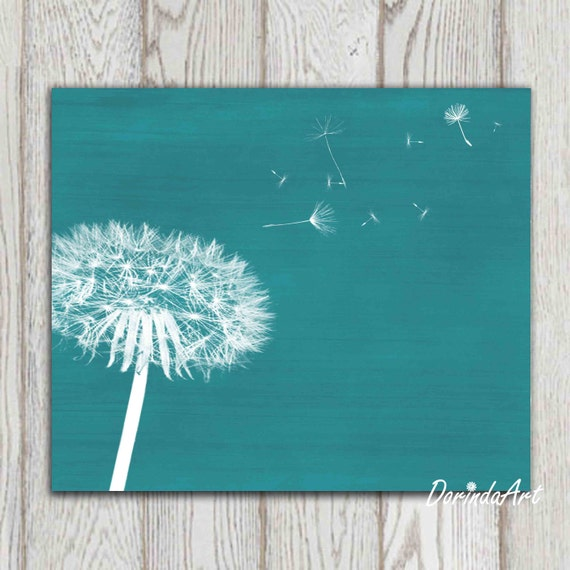 Items Similar To Teal Purple Abstract Flowers Wall Decor: Dandelion Print Teal Home Decor Teal Bedroom Decor By