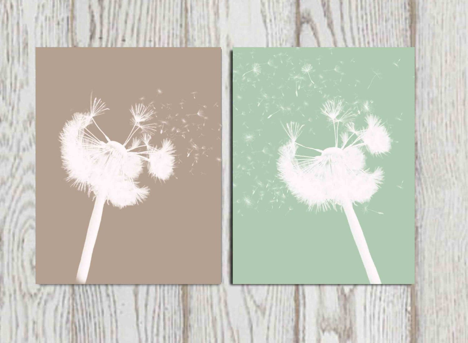 Dandelion Wall Art Print Taupe Mint Green Home Decor Bedroom