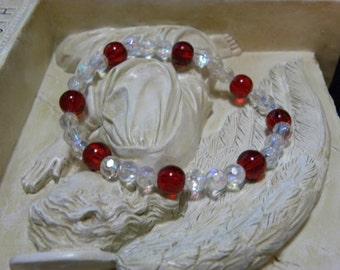 Red & Iridescent Bead Bracelet