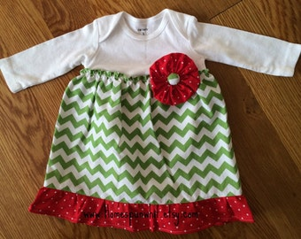 Infant Girls Christmas Dress, Bodysuit Dress, Christmas Dress, Special Occasion Dress, Infant Toddler Dress, Newborn to 24 months