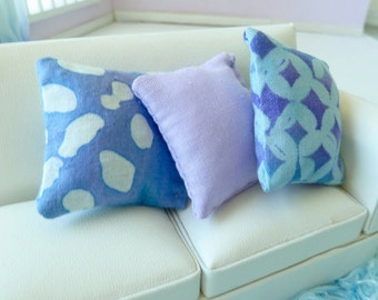 throw pillows 1 lavender 2 aqua print dollhouse miniature 1/12 scale