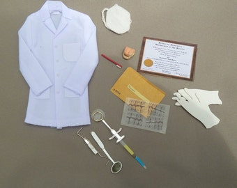 dental office coat, tools, gloves, mask, false teeth, toothbrush, x-rays, dental diploma dollhouse miniature 1/12 scale