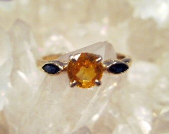 Yellow & Blue Sapphire Ring ~14K Yellow Gold~ Handmade w/ Natural Sapphires