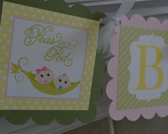 Sweet Peas - Two Peas In A Pod Baby Shower Banner - Twins - Twins Baby Shower Banner - Party Packs Available