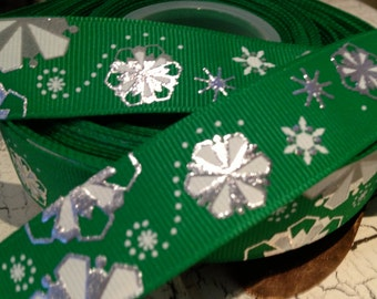 "3 yards 7/8"" Christmas Green Metallic SNOWFLAKE Grosgrain Ribbon"