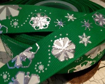 "3 yards 7/8"" Christmas Green Metallic SNOWFLAKE Grosgrain Ribbon"