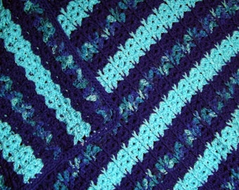 I've Got the Blues Lapghan Afghan Blanket Wrap in Turquoise and Variagated Blues