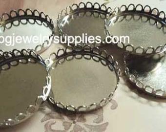 35mm round silvertone closed back lace edge cameo settings 6 pcs lot l
