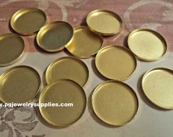 18mm round brass High Wall bezel cup settings cameos 12 pcs lot l