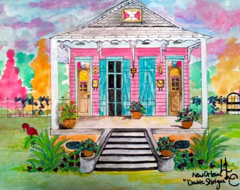 New Orleans Pink Double Shotgun House