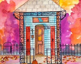 New Orleans Shotgun House  Teal Pumkin