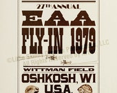 Tribute Print: Antique wood type poster depicting the 1979 internationally world-famous annual fly-in held in Oshkosh, WI