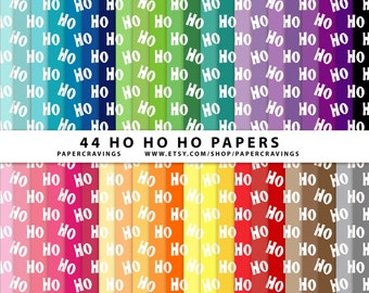 """Christmas Digital Paper Pack 12"""" x 12"""" Ho Ho Ho festive holly Commercial and Personal Use - printable 44 sheets holiday INSTANT DOWNLOAD"""