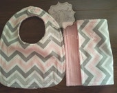 Charlotte - pink/gray, bib, burp cloth, soft, baby girl