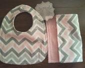 Charlotte - pink/gray, bib, burp cloth, soft, baby girl
