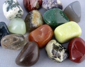 Assorted Tumbled Rocks and Gemstones-- Assorted Tumbled Jasper, Quartz and Agate Pieces- SET of 5 (RK3-B9)