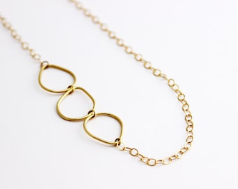 Gold Plated Drops Long Chain Necklace, Three Ways to Wear it Necklace