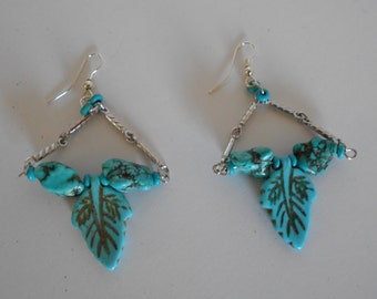 Turquoise Leaf and chain dangling earrings