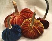 Quartet of silk velvet pumpkins
