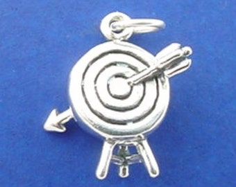 ARCHERY Charm, Target With ARROW, Archer .925 Sterling Silver Charm