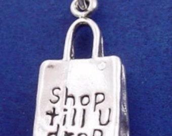 Shopping Bag Charm .925 Sterling Silver SHOP Till You DROP Pendant - lp3634